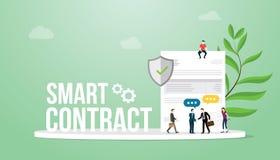 El concepto elegante del contrato con palabras grandes combina el documento de la gente y de papel con el acuerdo del sello y del libre illustration
