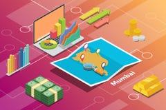 El concepto financiero isométrico de la condición de la economía de la ciudad de Bombay o de Bombay la India para describe crecim libre illustration