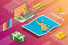 El concepto financiero isométrico de la condición de la economía de la ciudad de Calcutta la India para describe crecimiento de l ilustración del vector