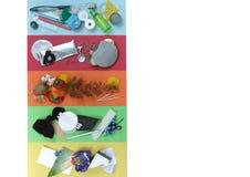 El concepto inútil de la segregación, 5 tipos de basura, echa a un lado espacio de la copia Imagen de archivo libre de regalías