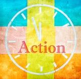 Concepto de la acción, palabra y reloj del dibujo Foto de archivo libre de regalías