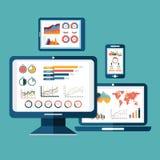 El concepto moderno del ejemplo del vector del diseño plano de analytics del sitio web busca análisis de datos de la información  Imagen de archivo