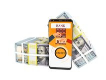 El concepto moderno para tomar préstamo a través del banco en un accesorio en el teléfono móvil 3d no rinde en el fondo blanco ni libre illustration