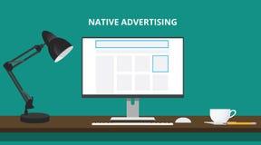 El concepto nativo de la publicidad con hace publicidad del lugar en ordenador del sitio web Foto de archivo libre de regalías