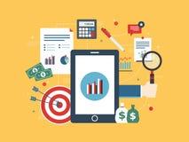 El concepto plano del ejemplo del vector del diseño de la inversión financiera, analytics con crecimiento divulga Imagenes de archivo