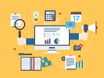 El concepto plano del ejemplo del vector del diseño de la inversión financiera, analytics con crecimiento divulga Imagen de archivo libre de regalías