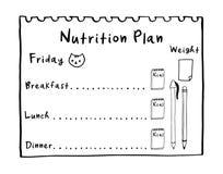 El concepto sano de la comida para la pérdida de peso, calorías cuenta en kcal Ejemplo de la historieta del plan de la nutrici foto de archivo libre de regalías