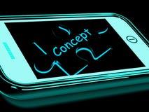 El concepto Smartphone significa la innovación e ideas que se convierten Imagen de archivo