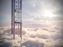 El concepto vacío del elevador del cielo en el cielo se nubla la composición del concepto del fondo Imagen de archivo libre de regalías