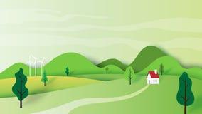 El concepto y la naturaleza de la ecología ajardinan el estilo de papel del arte del paisaje libre illustration