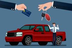 El concesionario de coches hace un intercambio, venta, alquiler entre un coche y la tarjeta del crédito del cliente fotografía de archivo libre de regalías