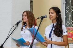 El concierto al aire libre de los niños en la región de Gomel de la República de Belarús Fotografía de archivo