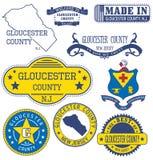 El condado de Gloucester, NJ Sistema de sellos y de muestras genéricos ilustración del vector