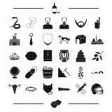 El condimento, el sushi y el otro icono del web en estilo negro aspecto, iconos de las decoraciones en la colección del sistema Imagen de archivo