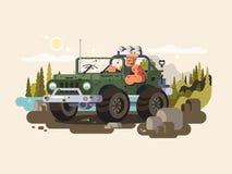 El conductor controla SUV stock de ilustración