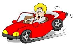 El conductor de coche cierra de golpe encendido los frenos stock de ilustración