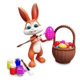 El conejito colorea el huevo con rosa libre illustration