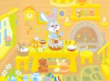 El conejito de pascua cocina una torta libre illustration