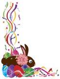 El conejito de pascua y el confeti de los huevos confinan el ejemplo ilustración del vector
