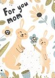 El conejito lindo del bebé da a su mamá una tarjeta de la flor ilustración del vector