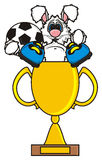 El conejo blanco está en una taza de oro en botas y sostener una bola Foto de archivo libre de regalías