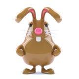 el conejo de conejito de pascua del chocolate 3d está alerta Imagen de archivo libre de regalías
