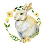 El conejo de la acuarela con la flor amarilla y las hierbas enrruellan Fotografía de archivo libre de regalías
