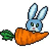 El conejo del arte del pixel del vector come la zanahoria libre illustration