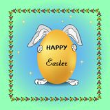 El conejo divertido en fondo de las estrellas sostiene el huevo festivo el día de fiesta, marco para adornar tarjetas de felicit ilustración del vector