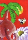El conflicto de la flor entre una abeja y un elefante ilustración del vector