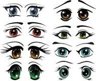 El conjunto completo de los ojos exhaustos ilustración del vector