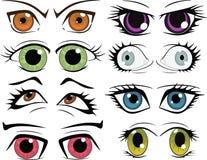 El conjunto completo de los ojos exhaustos Imagen de archivo libre de regalías