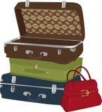 El conjunto completo de maletas Imagenes de archivo