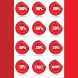 El conjunto de 12 ventas brillantes marca etiquetas engomadas con etiqueta con descuento Fotografía de archivo libre de regalías