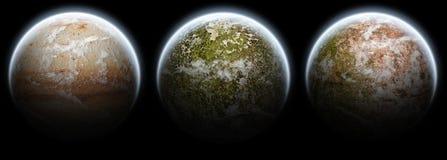 El conjunto de 3 planetas está en la luna en un fondo negro Imagen de archivo