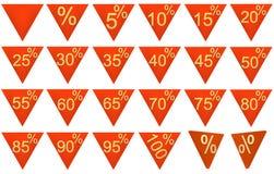 El conjunto de 3D rindió los símbolos de la venta, rojo, oro Fotos de archivo libres de regalías