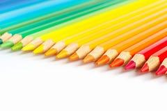 El conjunto de color dibujó a lápiz para la creatividad en blanco Fotografía de archivo libre de regalías