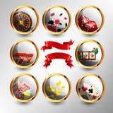 El conjunto de elementos del casino Fotos de archivo libres de regalías