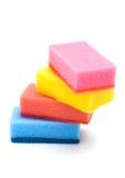 El conjunto de esponjas coloridas aisladas Foto de archivo libre de regalías