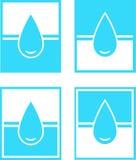 El conjunto de gota del agua firma adentro el marco Foto de archivo libre de regalías
