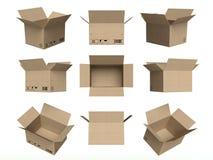 El conjunto de iconos, las cajas de cartón abiertas aisló blanco Foto de archivo libre de regalías