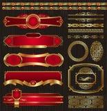 El conjunto de la vendimia enmarcó escrituras de la etiqueta y modelos de oro Imagen de archivo libre de regalías