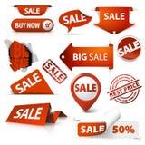 El conjunto de la venta marca, las escrituras de la etiqueta, sellos, etiquetas engomadas Fotografía de archivo libre de regalías