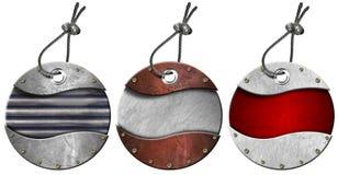 El conjunto de metal circular de Grunge marca - 3 items con etiqueta Imágenes de archivo libres de regalías