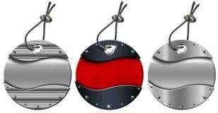 El conjunto de metal circular de Grunge marca - 3 items con etiqueta Foto de archivo libre de regalías