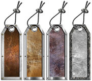 El conjunto de metal de Grunge marca - 4 items con etiqueta Foto de archivo libre de regalías