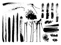 El conjunto de movimientos del cepillo, mancha, salpica, vector Fotos de archivo