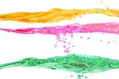 El conjunto de ondas de agua amarillea, rojos y verdes los colores Foto de archivo libre de regalías