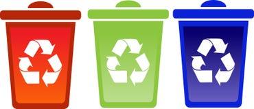 El conjunto de recicla compartimientos Imágenes de archivo libres de regalías
