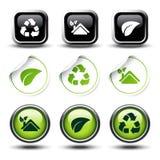 El conjunto de recicla los botones y las etiquetas engomadas Imagen de archivo